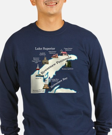 Kewanee Peninsula Lighthouses Long Sleeve T-Shirt