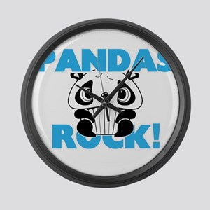 Pandas rock! Large Wall Clock