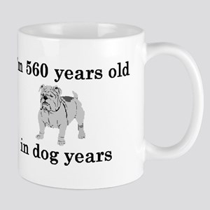 80 birthday dog years bulldog 2 Mugs