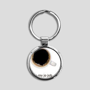 Coffee-Lt-ILoveMyJoJob Round Keychain