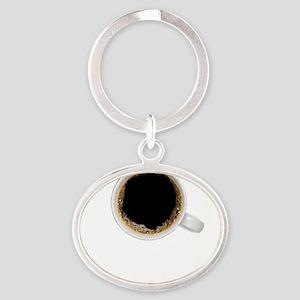Coffee-Dk-HalfCaff Oval Keychain