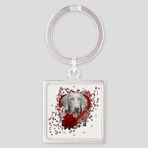 Valentine_Red_Rose_Weimeraner_Gold Square Keychain