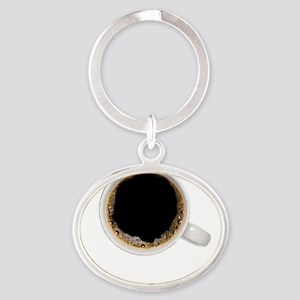 Coffee-Dk-SupCup Oval Keychain