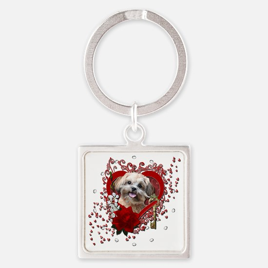 Valentine_Red_Rose_ShihPoo_Maggie Square Keychain