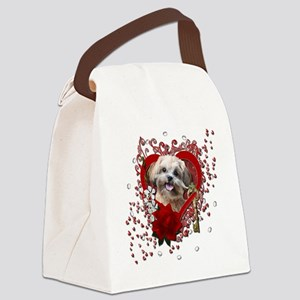 Valentine_Red_Rose_ShihPoo_Maggie Canvas Lunch Bag