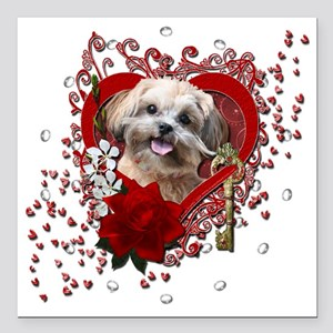 "Valentine_Red_Rose_ShihP Square Car Magnet 3"" x 3"""