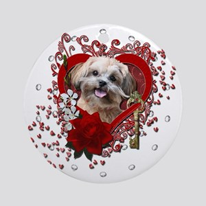 Valentine_Red_Rose_ShihPoo_Maggie Round Ornament