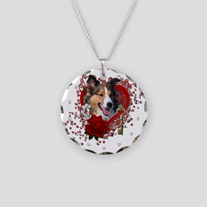 Valentine_Red_Rose_Sheltie Necklace Circle Charm