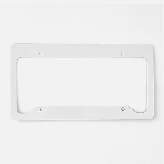 Floating Skull n Pipes White License Plate Holder