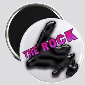 The Rock Chrome Island with Pink Lettering  Magnet