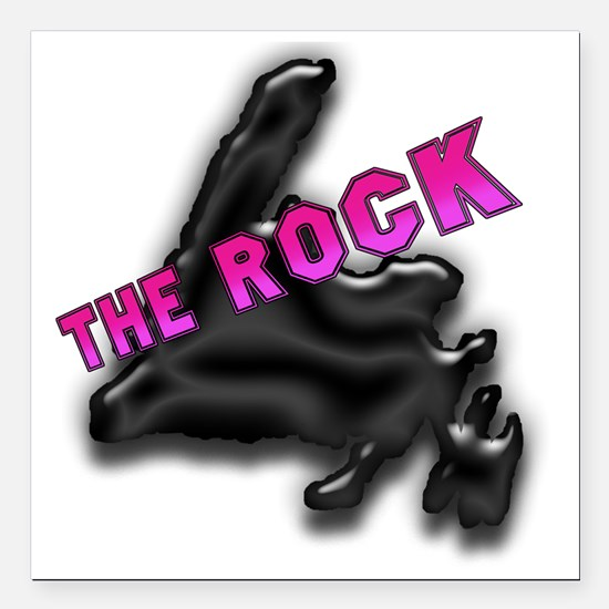 "The Rock Chrome Island w Square Car Magnet 3"" x 3"""