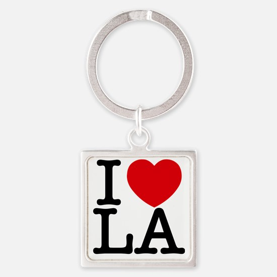 I Love LA Square Keychain