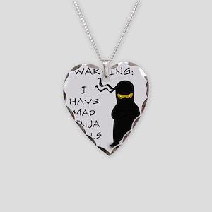 ninja warning Necklace Heart Charm