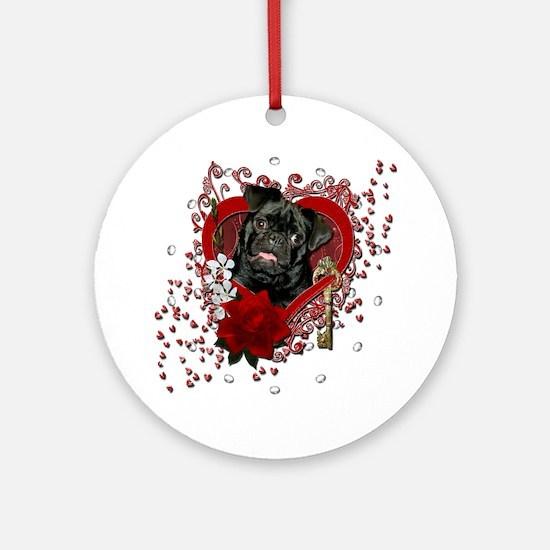 Valentine_Red_Rose_Pug_Ruffy Round Ornament
