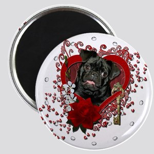 Valentine_Red_Rose_Pug_Ruffy Magnet