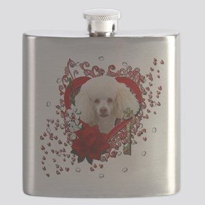 Valentine_Red_Rose_Poodle_White Flask