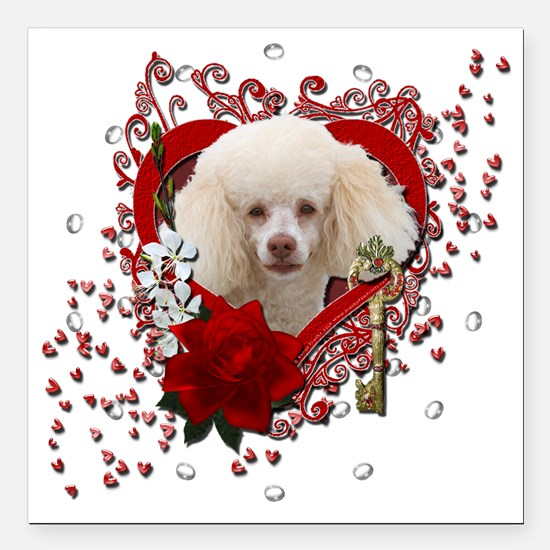 "Valentine_Red_Rose_Poodl Square Car Magnet 3"" x 3"""