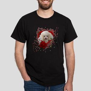 Valentine_Red_Rose_Poodle_White Dark T-Shirt