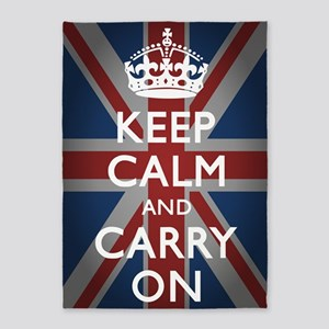 Keep Calm And Carry On with Union J 5'x7'Area Rug