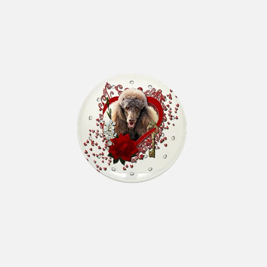 Valentine_Red_Rose_Poodle_Chocolate Mini Button