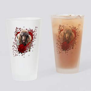Valentine_Red_Rose_Poodle_Chocolate Drinking Glass