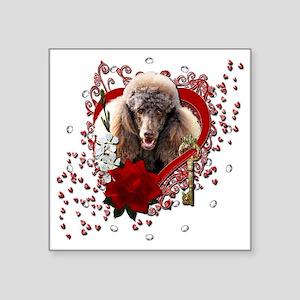 "Valentine_Red_Rose_Poodle_C Square Sticker 3"" x 3"""