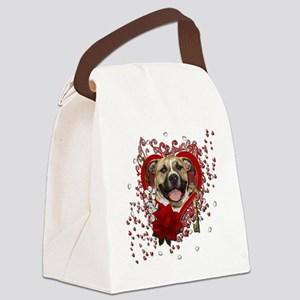Valentine_Red_Rose_Pitbull_Tigger Canvas Lunch Bag