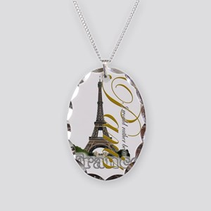 PARIS I would rather be in Necklace Oval Charm