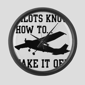 PilotsTakeOff Black Large Wall Clock
