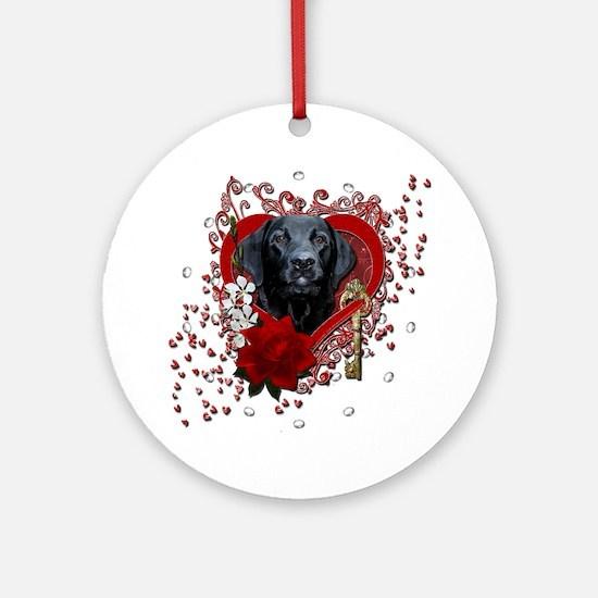 Valentine_Red_Rose_Labrador_Gage Round Ornament