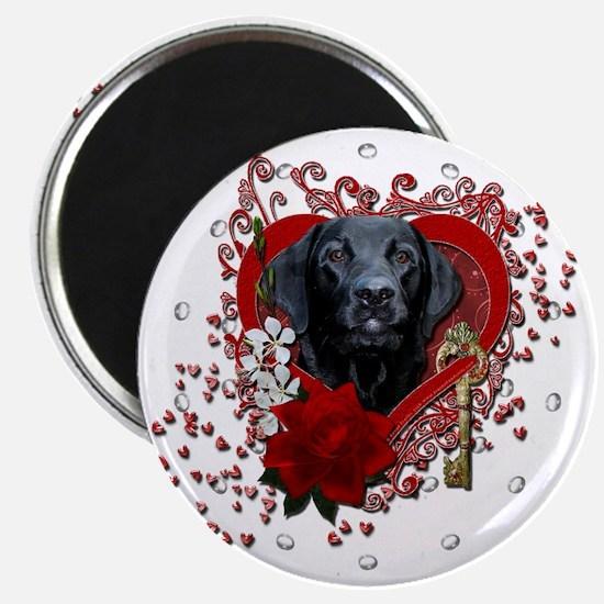 Valentine_Red_Rose_Labrador_Gage Magnet