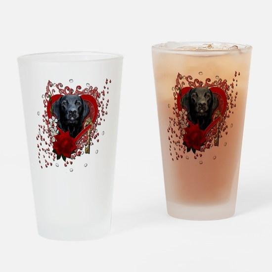 Valentine_Red_Rose_Labrador_Gage Drinking Glass