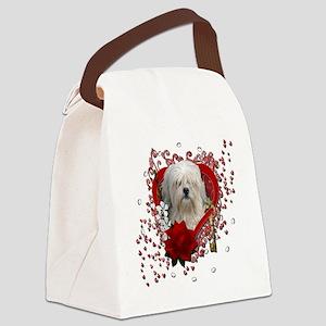 Valentine_Red_Rose_Lowchen Canvas Lunch Bag
