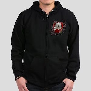 Valentine_Red_Rose_Lowchen Zip Hoodie (dark)