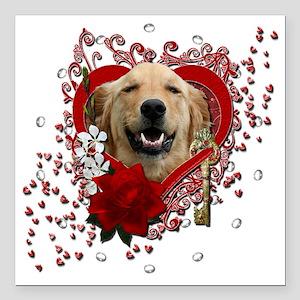 "Valentine_Red_Rose_Golde Square Car Magnet 3"" x 3"""