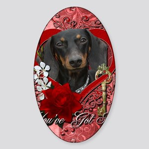 Valentine_Red_Rose_Dachshund_Winsto Sticker (Oval)
