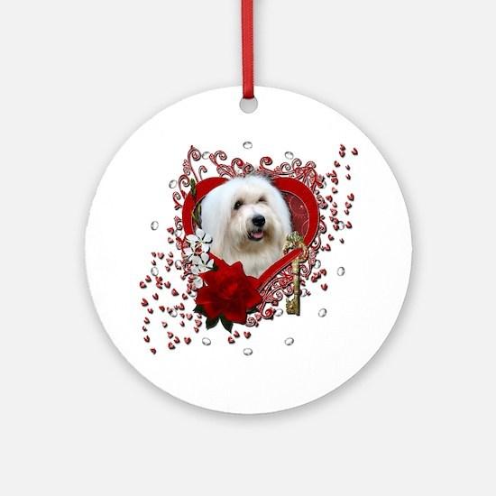 Valentine_Red_Rose_Coton_de_Tulear Round Ornament