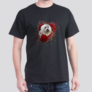 Valentine_Red_Rose_Coton_de_Tulear Dark T-Shirt