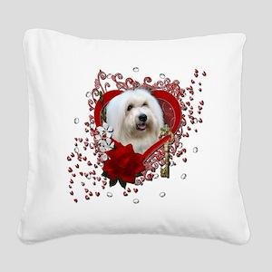Valentine_Red_Rose_Coton_de_T Square Canvas Pillow