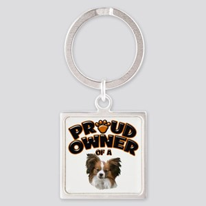 Proud Owner of a Papillon Square Keychain