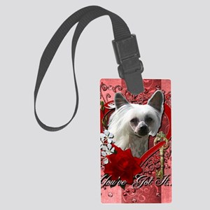 Valentine_Red_Rose_Chinese_Crest Large Luggage Tag