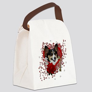 Valentine_Red_Rose_Corgi Canvas Lunch Bag