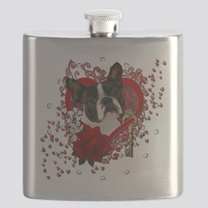 Valentine_Red_Rose_Boston_Terrier Flask
