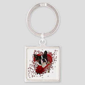 Valentine_Red_Rose_Boston_Terrier Square Keychain