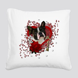 Valentine_Red_Rose_Boston_Ter Square Canvas Pillow