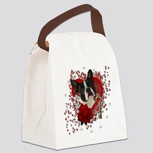 Valentine_Red_Rose_Boston_Terrier Canvas Lunch Bag