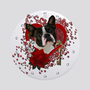 Valentine_Red_Rose_Boston_Terrier Round Ornament