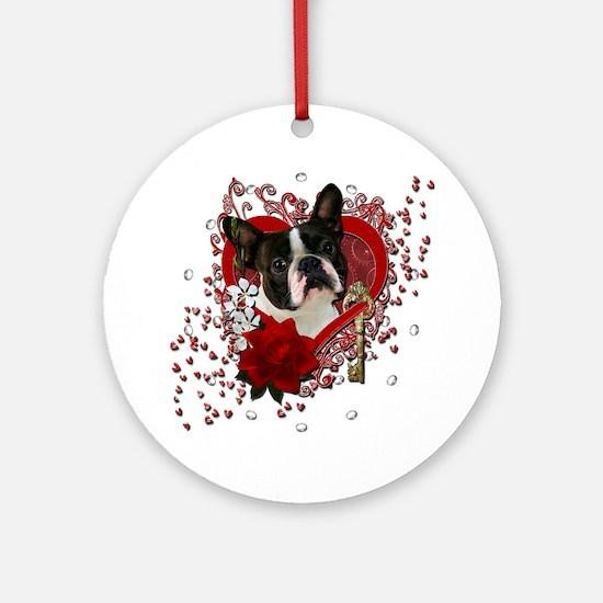 Valentine_Red_Rose_Boston_Terrier Round Ornament