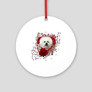 Valentine_Red_Rose_Bichon_Frise Round Ornament