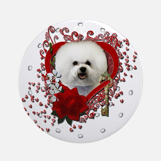 Valentine_Red_Rose_Bichon_Frise Round Ornament